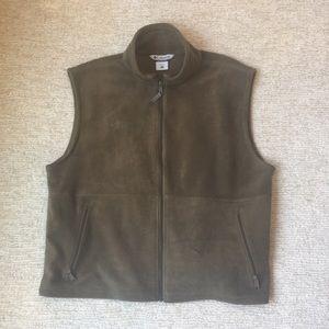 Columbia Men's XL Fleece vest, Olive, Full-zip